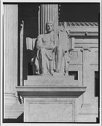 U.S. Supreme Court exteriors. Statue of Execution of Law at U.S. Supreme Court, front view III