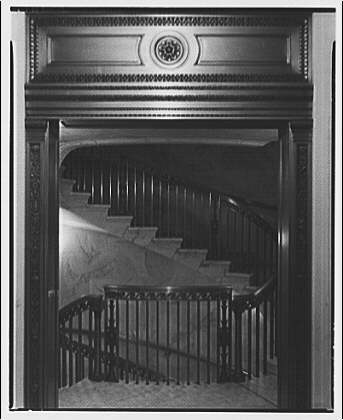 U.S. Supreme Court interiors. Stairs through doorway, U.S. Supreme Court