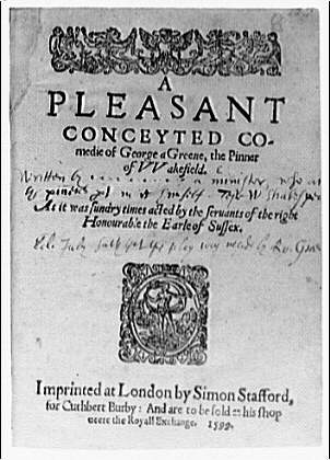 Folger Library copy work. Title page from play A pleasant conceyted co.