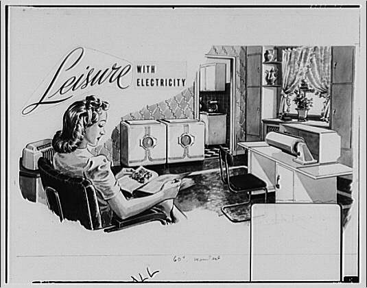 Electric Institute of Washington. Copy of Leisure with electricity advertisement