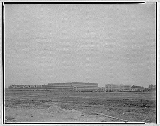 Glenn L. Martin Co. airplane factory. View of airplane factory complex across field