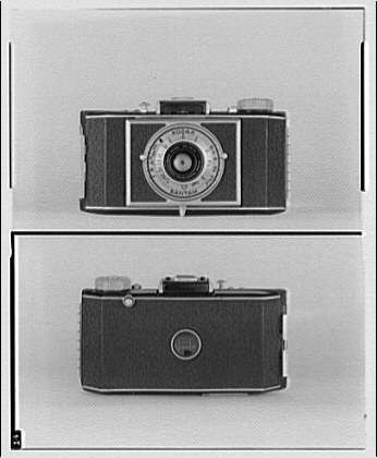 Photography. Front and back of Kodak Bantam camera