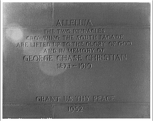 National Cathedral interiors. Inscription at end of altar, Saint Joseph of Arimathea Chapel, National Cathedral