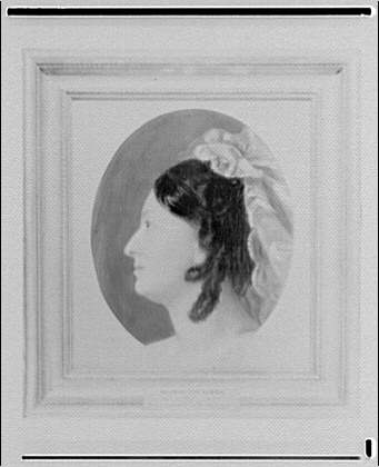 Folger Library copy work. Portrait of Frances Ann Kemble by Peter Frederick Rothermel