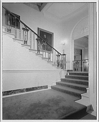 White House interiors. Carpeted stairway in White House II