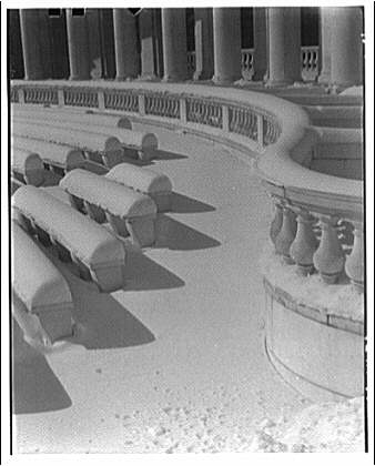 Arlington National Cemetery. Seats in Arlington National Cemetery Amphitheater with snow
