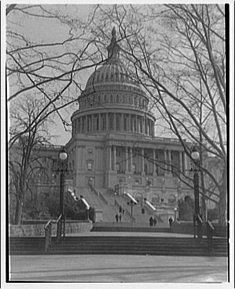 U.S. Capitol exteriors. Steps on west side of U.S. Capitol and dome I