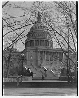 U.S. Capitol exteriors. Steps on west side of U.S. Capitol and dome III