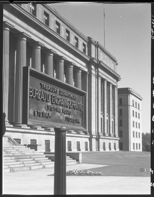 Bureau of Engraving and Printing. Exterior of Bureau of Engraving and Printing with plaque