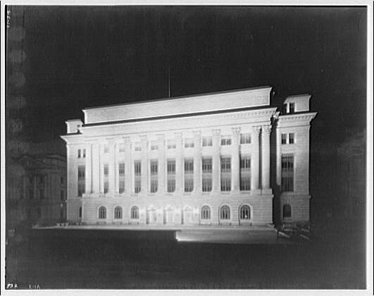 Department of Agriculture. North side of Department of Agriculture Building entrance at night I