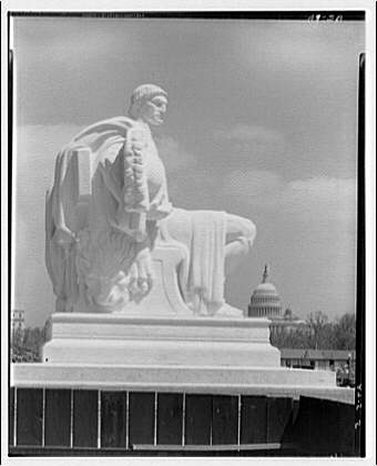 National Archives. Statue at right of entrance (Guardian) of  National Archives II
