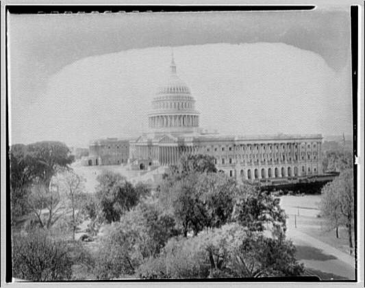 U.S. Capitol exteriors. U.S. Capitol from top of Senate office IV