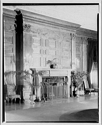 White House interiors. Fireplace in State Dining Room