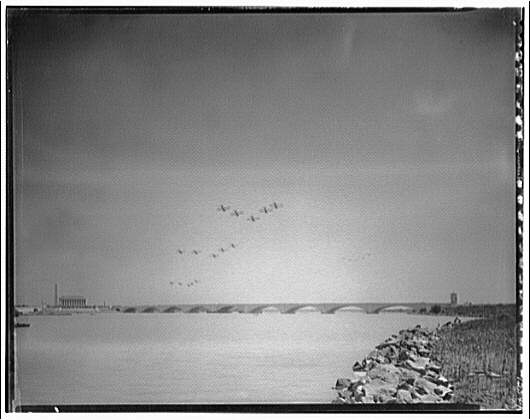 Memorial Bridge. Airplanes in flight over Memorial Bridge II