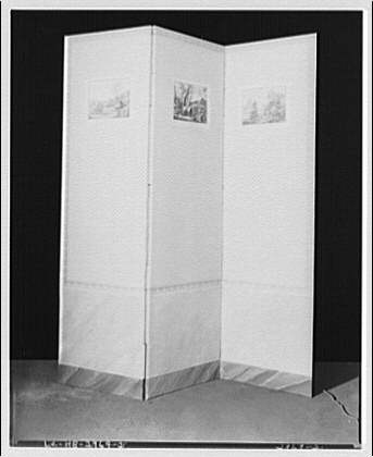Miscellaneous subjects. Tripartite screen with three prints II