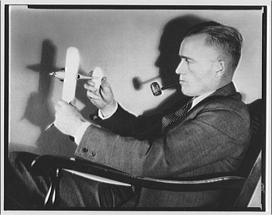 Lt. Williams. Lt. Williams with model airplane V