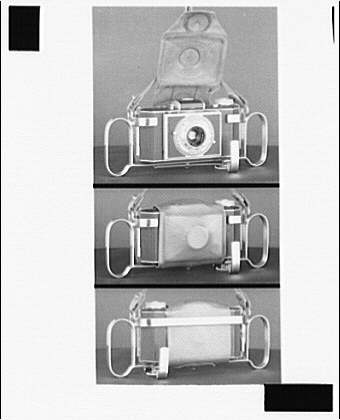 Photography. Front and back of Kodak Bantam camera II