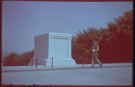 Arlington National Cemetery. Side angle of Tomb of the Unknown Soldier, with guard