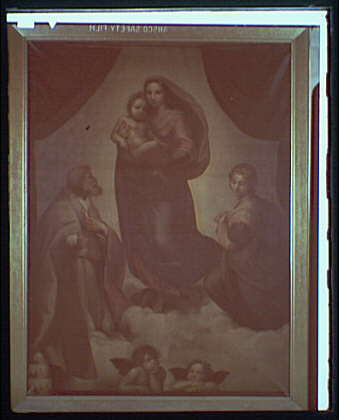 Paintings. Madonna and child with angels and other figures I