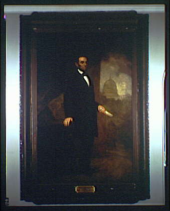 U.S. Capitol paintings. Abraham Lincoln standing, vertical, painting in U.S. Capitol