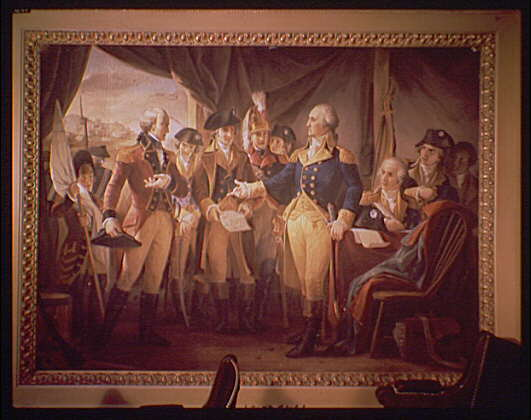 U.S. Capitol paintings. George Washington with British soldiers at Yorktown painting in U.S. Capitol I
