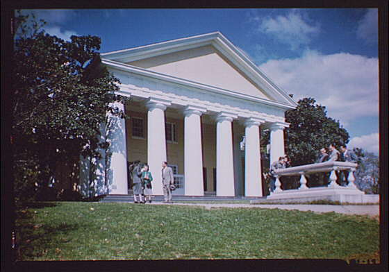 Arlington National Cemetery. Custis-Lee Mansion with people in foreground II