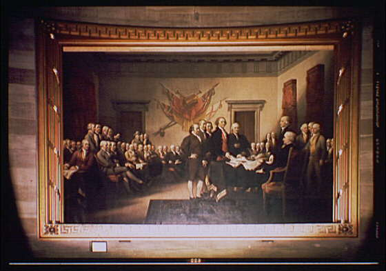 U.S. Capitol paintings. Declaration of Independence, painting by John Trumbull in U.S. Capitol II