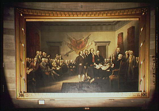 U.S. Capitol paintings. Declaration of Independence, painting by John Trumbull in U.S. Capitol I