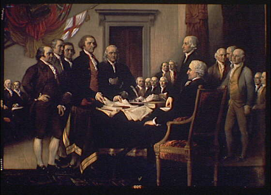 U.S. Capitol paintings. Declaration of Independence, painting by John Trumbull in U.S. Capitol, detail I