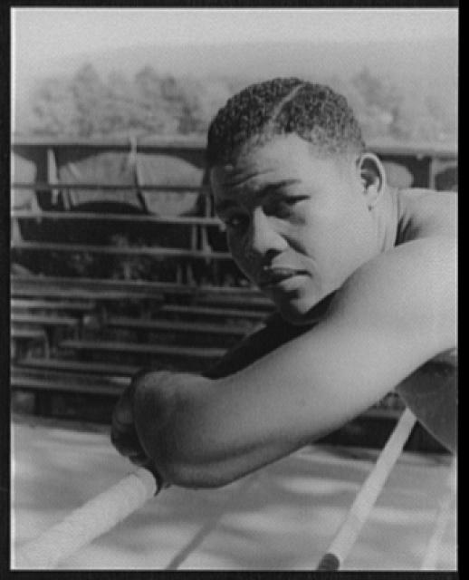 [Portrait of Joe Louis, Greenwood Lake, N.Y., before the Nova fight]