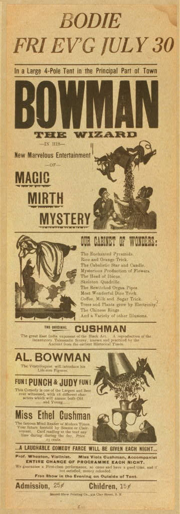 Bowman the Wizard in his new marvelous entertainment of magic, mirth, mystery