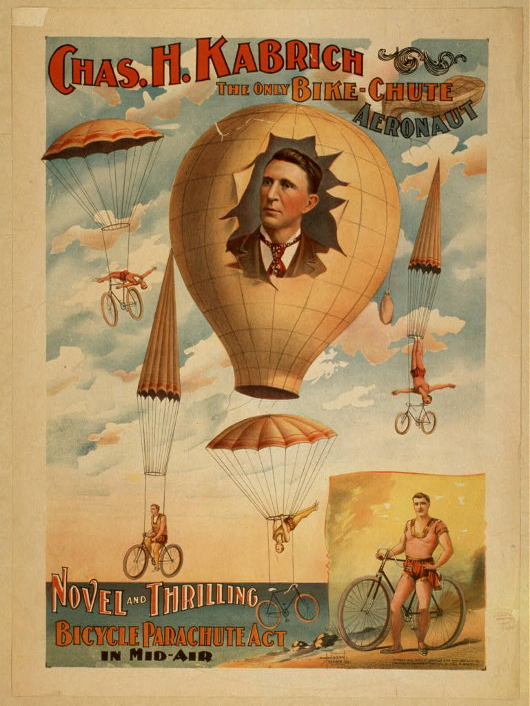 Chas. H. Kabrich, the only bike-chute aeronaut novel and thrilling, bicycle parachute act in mid-air.