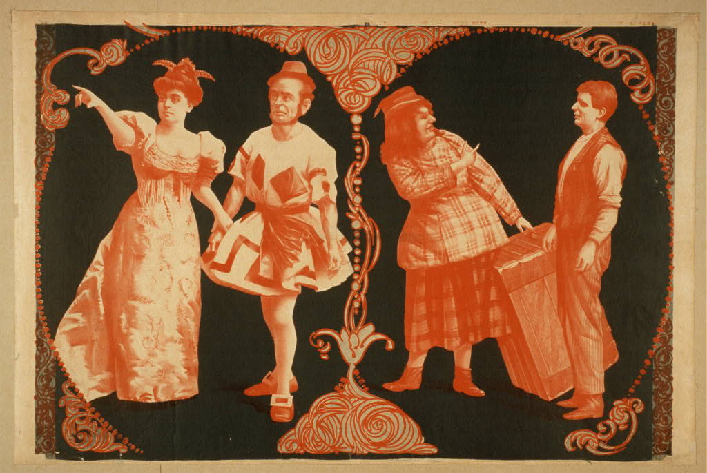[Phil Sheridan's New City Sports Company woman in lowcut dress pointing, two male comedians in women's clothing, and one man in regular clothing].