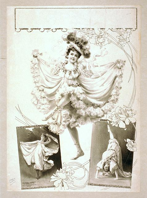 [Woman dancing in two scenes, performing acrobatics in third]