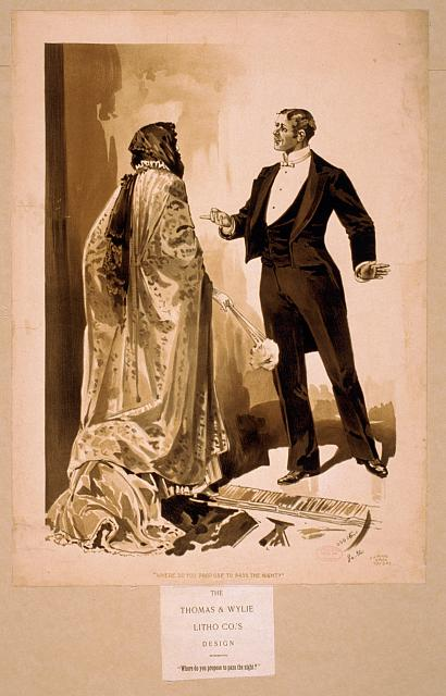 [Man in tuxedo questioning woman in cloak & gloves]