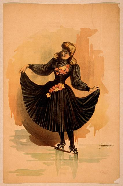[Blond woman in black dress with roses holding up skirt]