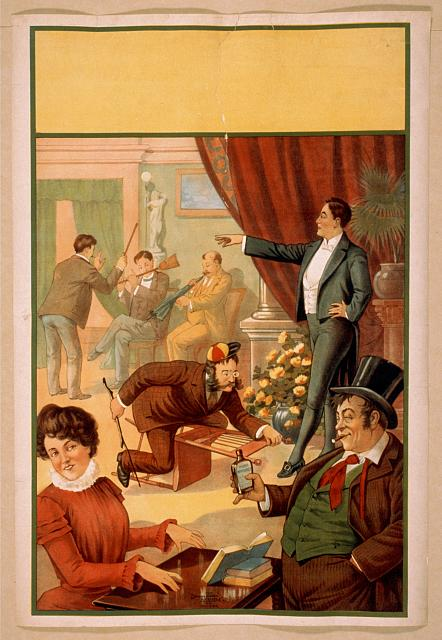 [Hypnotist directing people to do unusual activities: woman playing table like a keyboard instrument, man riding chair like a racehorce, men using broom and umbrella as musical instruments, man with whiskey bottle]