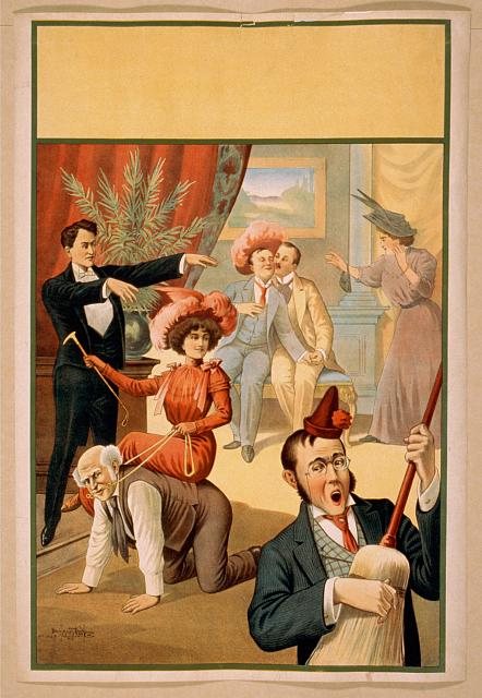 [Hypnotist directing group of people to do unusual things: woman riding man, man playing broom like a guitar, two men embracing]