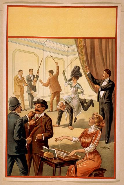[Hypnotist directing group of people to do unusual activities: woman playing washboard, woman riding man, men using brooms as musical instruments, policeman using sausage as weapon]
