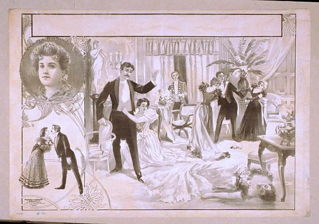 [Horrified onlookers in formal dress view dead woman and smoking gun on floor; vignettes of couple and portrait on left side]