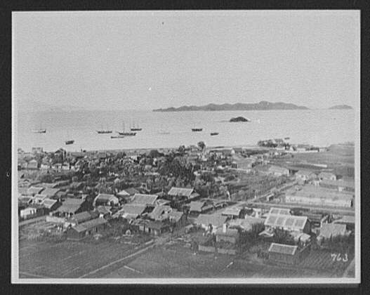 Wonsan - panoramic view of city and harbor (rt. half)