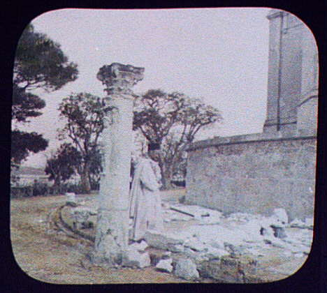 Carthage, Father Pierre de Latrie standing amid antiquities