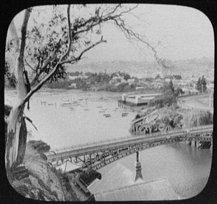 View from Cascade Gorge toward river bridge and Launceston