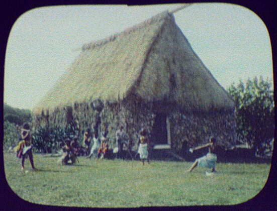 Natives in front of large thatch-roofed building