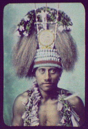 Samoan Chief - head and shoulders, wearing ceremonial headdress