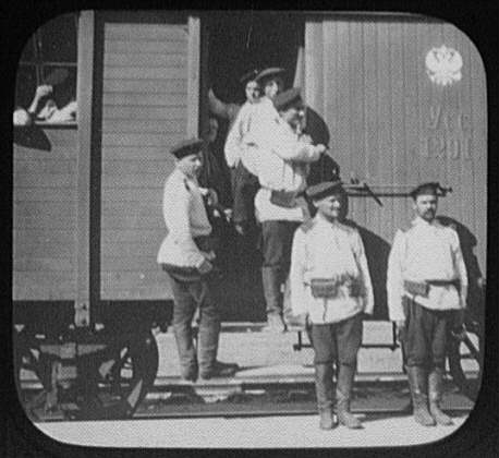 Troops on Eastern Siberian Railway car